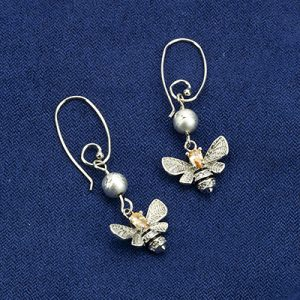 DIY set earrings (13x24 mm) queen bee (16,3 x 15,7 mm) & silver bead, organza bag